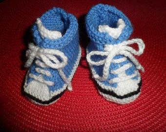 "Baby shoes, sneakers ""blue"" baby wool (0-3 months)"