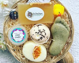 Citrus Twist Vegan Gift Basket, Handmade Treats, Spa gift, Gifts for Vegans, Vegetarian Presents, Cruelty Free, SLS Paraben Free, Gentle 9''