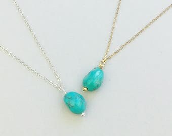 Real Turquoise Necklace, Natural Turquoise, Pendant, December Birthstone,  Gift For Mom, Minimalist Necklace,Bridesmaid Gift, Boho Necklace