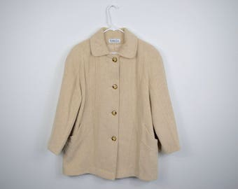 Herman Kay Petite Cream White Wool Peacoat Size 8 / Button Up Coat / Vintage Women's Jacket