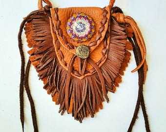 Fringed Leather Medicine Bag~ Brown colored leather neck pouch~ Fringed Hippie Groove Bag~ Whimsical heart theme amulet bag~ Boho Hippie bag