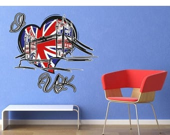 20% OFF Summer Sale I Love UK wall decal sticker, deco, mural, vinyl wall art