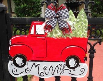 Vintage Christmas Truck Door Sign
