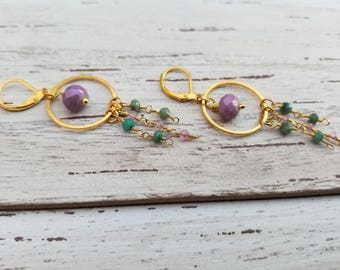 Gold Circle Hoop Dangle Earrings with 24k Gold Plated Chrysoprase & Zircon Crystals with Pink Beaded Accent