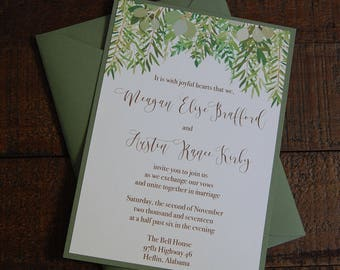 Greenery Wedding Invitation, Wood Wedding Invitation, Green Wedding Invitation, Floral Wedding Invitation, Woodsy Wedding Invitation