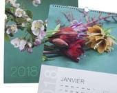 Calendrier mural annuel 2018 grand format illustré par 14 photos fleuries en PROMOTION
