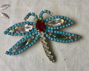 Pretty Vintage blue ,green and  clear rhinestone dragonfly brooch