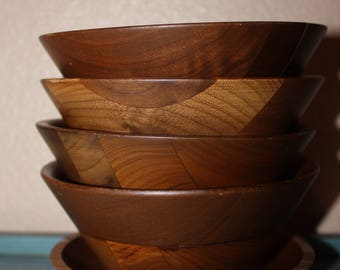 Made in the U.S.A. Solid Black Walnut Set of 4 individual salad bowls and one coaster by Kustom Kraft FREE SHIPPING