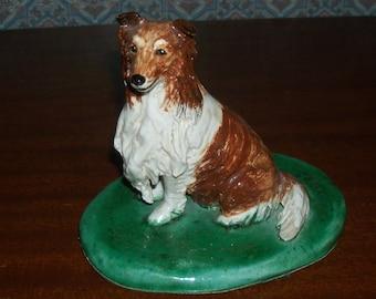 Vintage Custom Handmade Ceramic Clay Sheltie Shetland Sheepdog Sculpture Figurine by Nina B. Sutton, Sandwich, Mass.