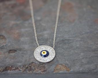 Round evil eye necklace
