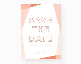 Save the Date - Modern, Geometric, Pastel, Minimal, Instant Download