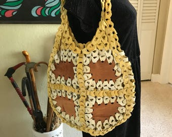 Genuine leather chain link tote bag/purse
