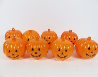 vintage set of 8 small plastic jack o lanterns 8 small plastic pumpkin jack - Plastic Pumpkins