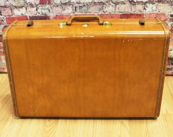 "Vtg Shwayder Bros Samsonite Brown Leather Suitcase, 21"" Long- No Key"