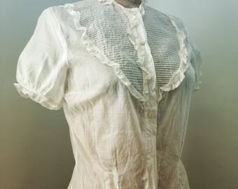 Sheer cotton 1940's button down S/S blouse with ruffles