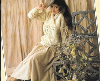 PDF knitting pattern for ladies aran jumper - to fit sizes 32-38 imch / 81-97 cm