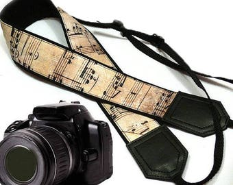 Music camera strap. Vintage notes Camera strap. DSLR / SLR Camera Strap. Camera accessories by InTePro