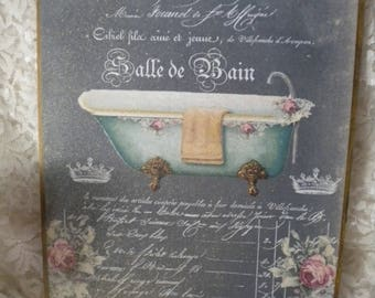 French bathroom sign etsy for Plaque pvc salle de bain