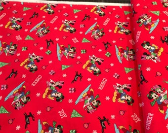 Mickey and Friends Christmas on Red-Cotton Woven