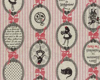 A Girl's Story, Alice in Wonderland 40823L-20 Alice Cameos on pink stripes By Lecien Fabrics