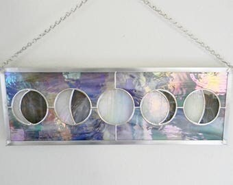 Iridescent Moon Phases Stained Glass Window - Made to Order