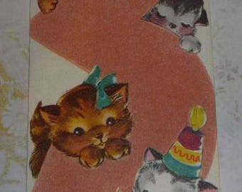 ON SALE till 6/30 Flocked Birthday card for 3 Year Old With Cute Kittens Vintage 1950s Gibson Greeting Card