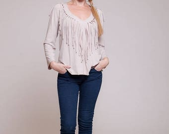 Long sleeved tassel beige shirt, native american, womens tops, womens blouse, winter fashion, fringe shirt  sizes : XS / S / M / L / Xl