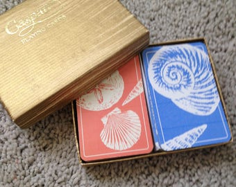 Double Deck Caspari Playing Cards Sea Shells in Pink and Blue