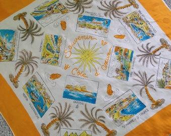Large Côte d'Azur Souvenir Scarf with Points of Interest
