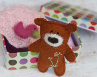 Teddy Toy in Tin Box, Busy Bag, Wool Felt Bear, Altered Altoid Tin, Pocket Travel Toy, Church Quiet Time Toy, Matchbox Doll, Play Therapy
