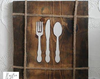 Kitchen Wood Sign / Fork Knife Spoon Sign / Utensil Kitchen Sign / Housewarming Gift / Kitchen Sign / Kitchen Decor / Utensil Sign