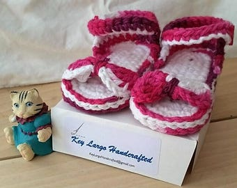 All Cotton Hand-Crocheted Baby Sandals