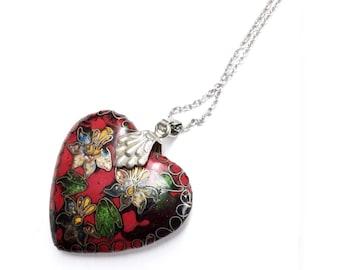 Vintage Necklace 1920s Art Nouveau Real Cloisonné Red Heart Pendant ~ antique 20s Flapper jewelry