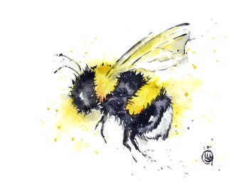 ORIGINAL Bee Watercolour By Lisa Whitehouse Bumble Garden Art Original Artwork