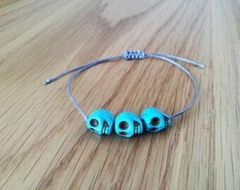Skull beads, Skull bracelet, Blue Beads Bracelet, Trendy Bracelets, Braid Jewelry, Adjustable, Blue Bracelet, Braid Patterns