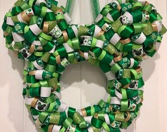 St. Patricks Day Mickey Shaped Ribbon Wreath Holiday Decor Free Shipping
