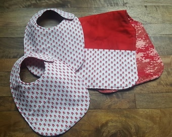 Baby Bib and Burp Cloth Set - Campfire