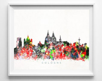 Cologne Skyline Print, Germany Wall Art, Cologne Cityscape, City Skyline, Watercolor Painting, Home Decor, Room Decor, Mothers Day Gift