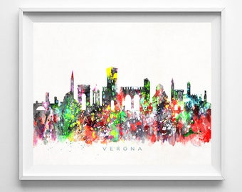Verona Skyline Print, Italy Print, Verona Poster, Italy Cityscape, City Art, Watercolor Art, Wall Decor, City Skyline, Mothers Day Gift
