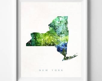 New York Map Print, Manhattan Print, NY Poster, NewYork Map, Watercolor Painting, Watercolor Map, State Art, Home Decor, Mothers Day Gift
