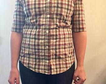 Vintage ESPRIT plaid short sleeve shirt // womens size S