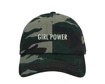 "GIRL POWER Dad Hat, Embroidered ""Girl Power"" Feminism Hat, Low Profile Feminist Girl Gang Baseball Cap Hat, Camo Green"