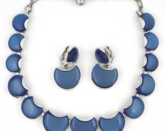 1960s - Vintage Blue Lucite Silver Tone Necklace & Earrings Set