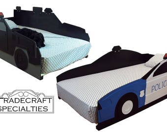 Police, fire, EMS vehicle twin kids bed frame - handcrafted - themed children's bedroom furniture - fire, police, ambulance, rescue, EMS