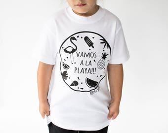 Tshirt printed for kids - exclusive print 'vamos a la playa'