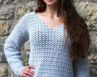 Crocheted V-Stitch Over sized Sweater Pattern