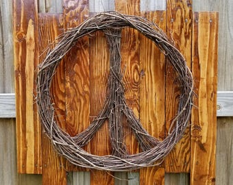 Grapevine Peace Sign Wreath~Grapevine Wreath~Natural Wreath~Grapevine Peace Sign~
