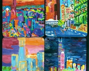 Fine Art Beverage Coasters featuring Chicago cityscapes