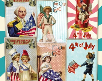 Vintage Retro 4th of July Independence Day Digital Collage Sheet Images for Jewelry Holder Cardmaking Scrapbooking Journaling Decoupage ATC