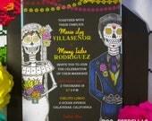 Amor Eterno / Sugar Skull Wedding Couple Papel Picado Invitation or Announcements